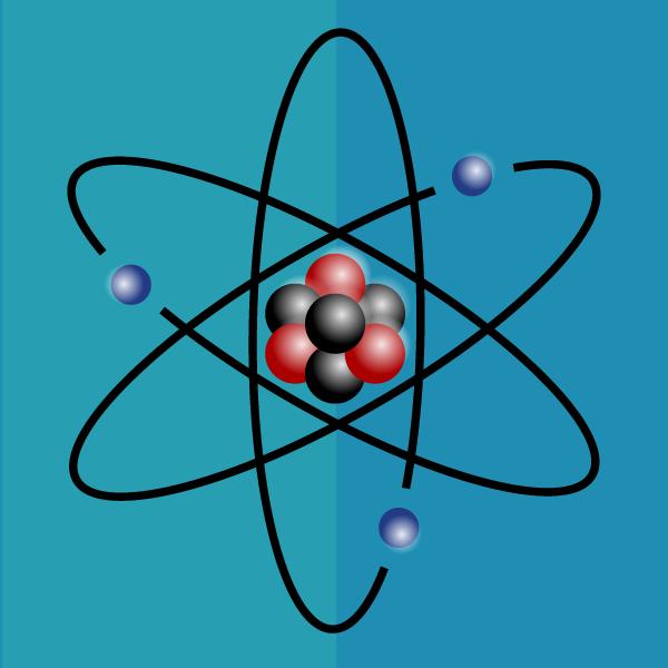 Model atomu z widocznym elektronem krążącym wokół jądra.