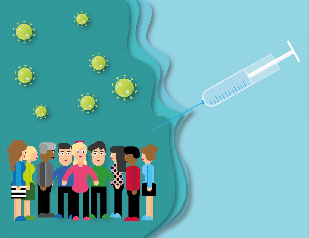 Grupka ludzi stojących na ciemnoniebieskim tle. Nad ludźmi latają pojedyncze wirusy. Po prawej stronie na górze widoczna strzykawka, z której rozlewa się niebieskie tło.