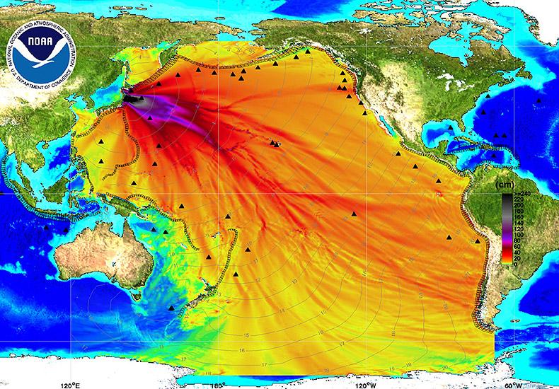 Mapa przedstawiająca intensywność fali tsunami po katastrofie w Fukushimie.