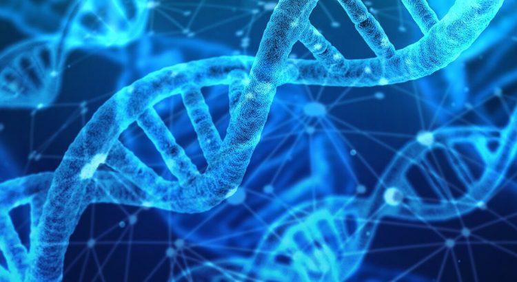 Nić DNA na tle innych nici.